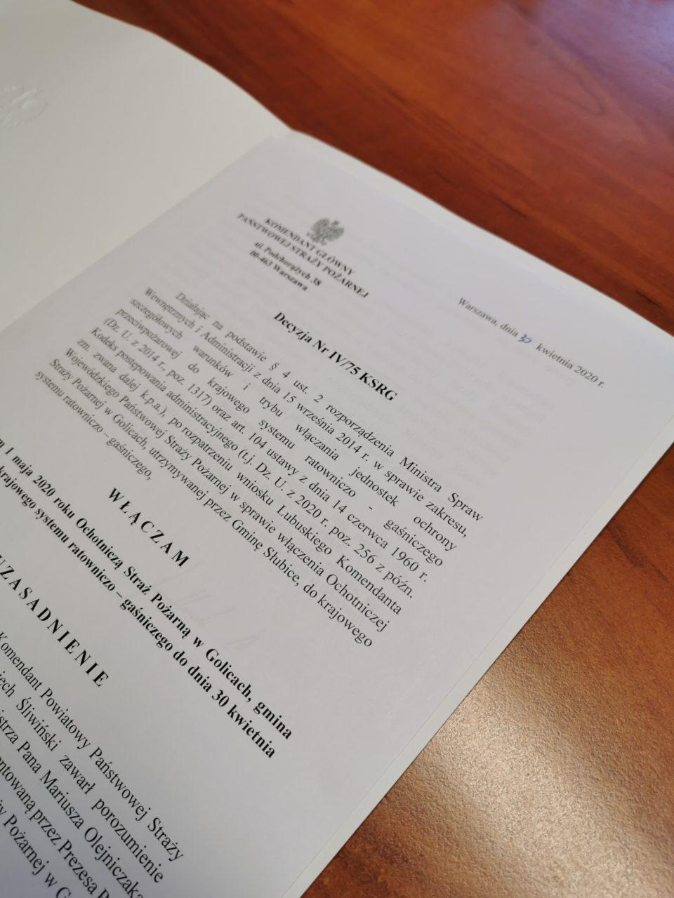 OSP w Golicach włączona do krajowego systemu ratowniczo-gaśniczego!